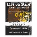 Live on Stage Floral Grunge Music Flyer
