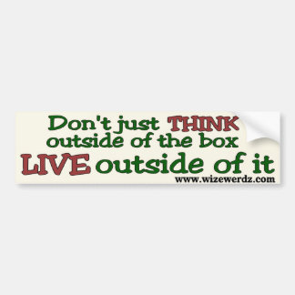 Live Outside The Box bumper sticker - light