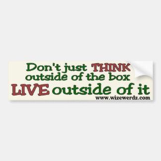 Live Outside The Box bumper sticker - light Car Bumper Sticker