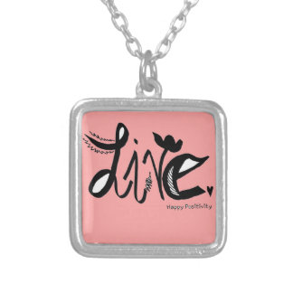 Live(Pink)-Small Silver Plated Square Necklace Necklaces