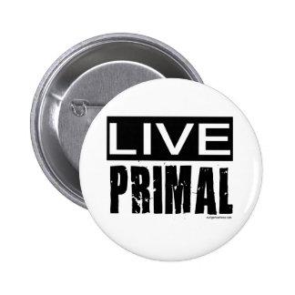 live primal / paleo diet 6 cm round badge