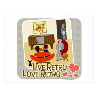 Live Retro Love Retro Slogan Postcard