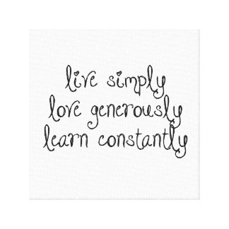 Live Simply Canvas Canvas Print