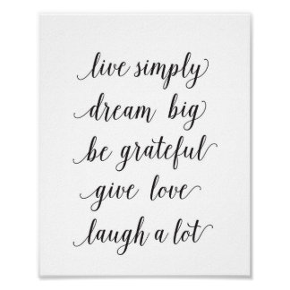 Live simply, dream big - art print - quote
