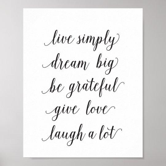 Live simply, dream big - art print -