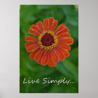 Live Simply Orange Zinnia Flower Poster