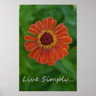 Live Simply Orange Zinnia Flower print