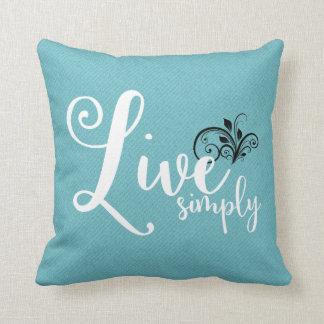 """Live Simply"" Text Farmhouse Style Throw Pillow"