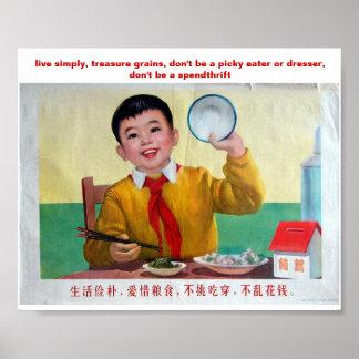 Live simply, treasure grains, ... poster