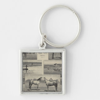 Live Stock in Kansas Silver-Colored Square Key Ring