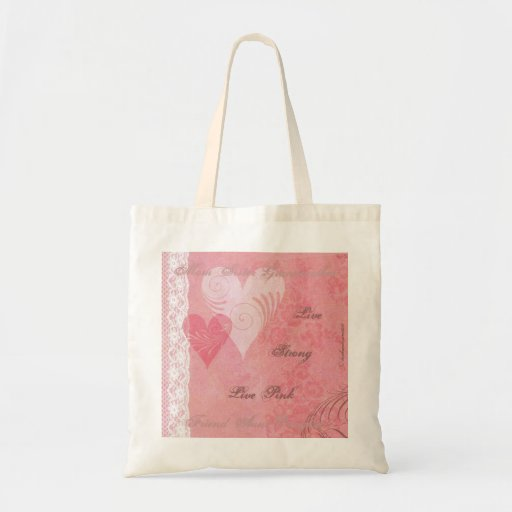 Live Strong Live Pink Hearts & Lace Canvas Bag