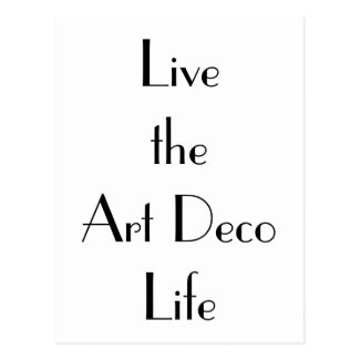 Live the Art Deco Life Typography Postcard