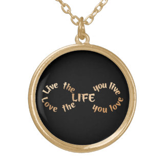 Live the Life Infinity on Black Gold Plated Necklace