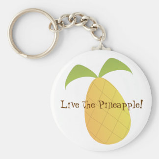 Live the Pineapple Basic Round Button Key Ring
