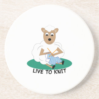 Live To Knit Beverage Coasters