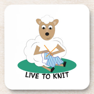 Live To Knit Drink Coaster