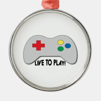 Live To Play Silver-Colored Round Decoration