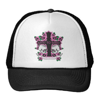 LIVE TO RIDE-PINK HEARTS AND CROSS CAP