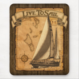 Live To Sail Mouse Mat