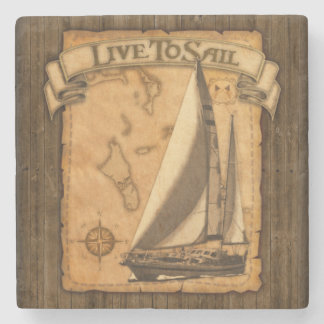 Live To Sail Stone Beverage Coaster