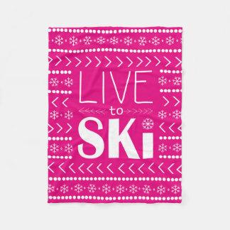 Live to Ski blanket - hot pink