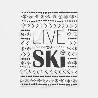 Live to Ski blanket - white1