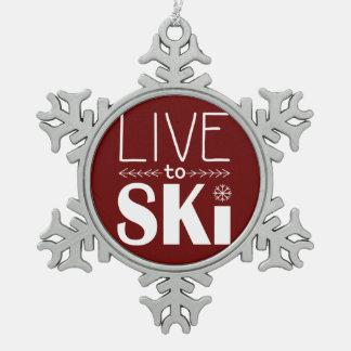 Live to Ski Snowflake Ornament - maroon