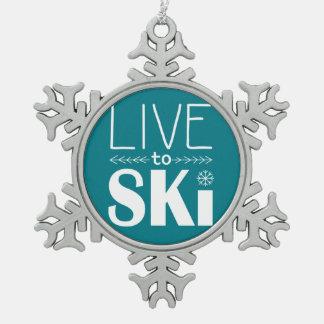Live to Ski Snowflake Ornament - teal