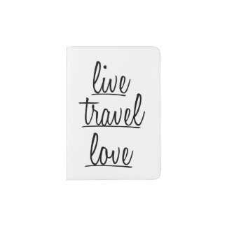 """Live, Travel, Love"" Typography in Black Passport Holder"