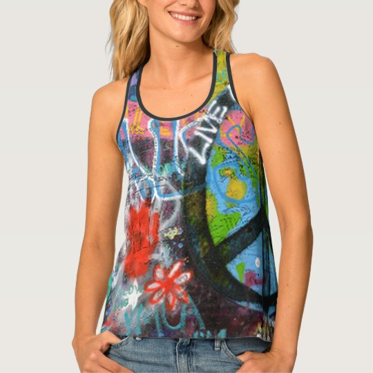 Live Upside Down Peace Sign Wall Tank Top