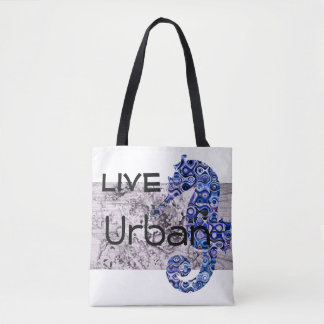 Live Urban Seahorse All-Over-Print Tote Bag