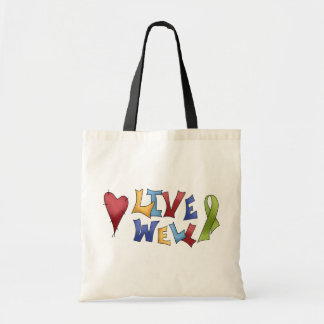 Live Well- Green Ribbon Tote Bag