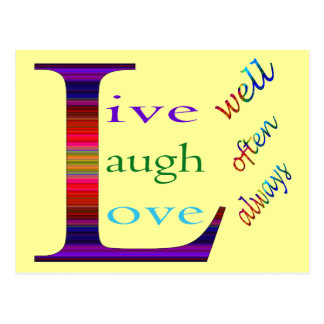 Live Well, Laugh Often, Love Always Postcard