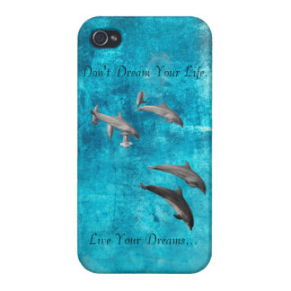 Live Your Dreams Dolphins iphone4 shell Case For iPhone 4