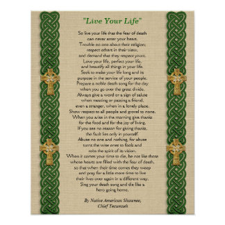 """Live Your Life""  by Chief Tecumseh Poster"