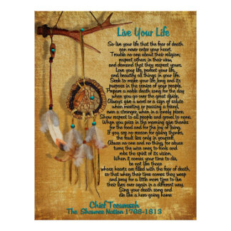 """Live Your Life""Chief Tecumseh act of valor Poster"