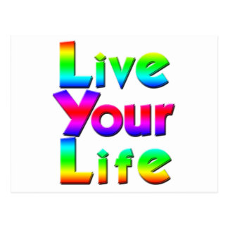 Live Your Life Rainbow Message Postcard