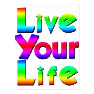 Live Your Life Rainbow Message Postcard