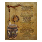 """Live your life"" Tecumseh Dreamcatcher and Drum Poster"