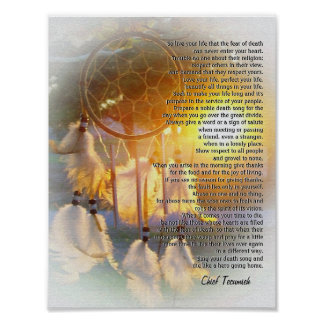 """Live your life"" Tecumseh Dreamcatcher sunset Poster"