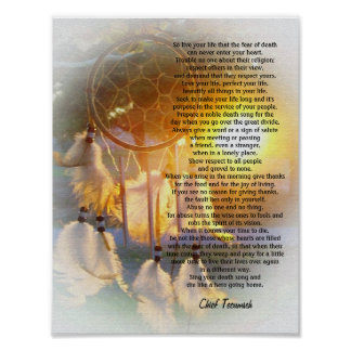 """Live your life"" Tecumseh Dreamcatcher sunset Poster"