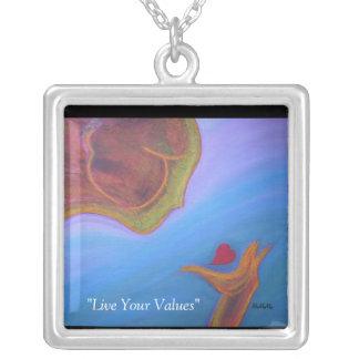 Live Your Values Square Pendant Necklace