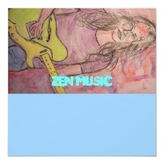 Live Zen Music Girl Sketch 13 Cm X 13 Cm Square Invitation Card