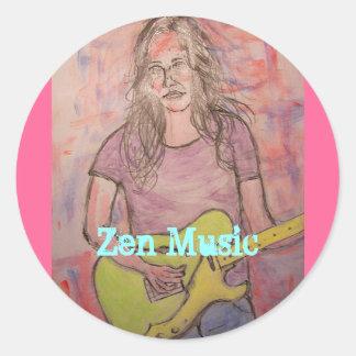 Live Zen Music Girl Sketch Round Sticker