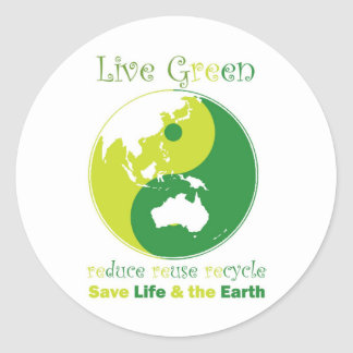 LiveGreen AustralAsia ying yang Classic Round Sticker