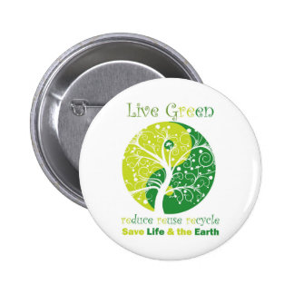 LiveGreen - Ying Yang 6 Cm Round Badge