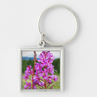 Lively Fireweed Silver-Colored Square Key Ring