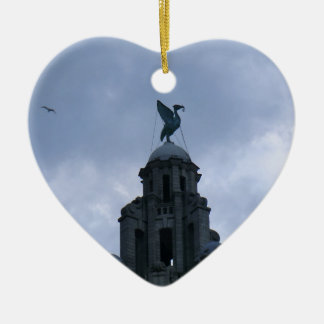 Liver Bird in Liverpool Ceramic Heart Decoration