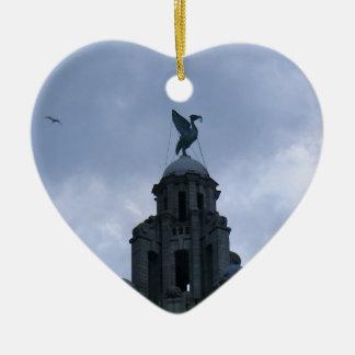 Liver Bird in Liverpool Ceramic Heart Decoration