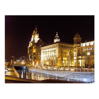 Liver Building & Canal, Liverpool UK Postcard